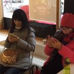 Besökare med mobil
