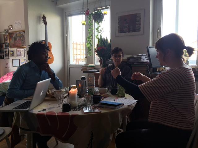 Planeringsmöte av Utbytet med José Pereelanga, Nina Norén och Karin Holmström. Foto: Marika Yamoun